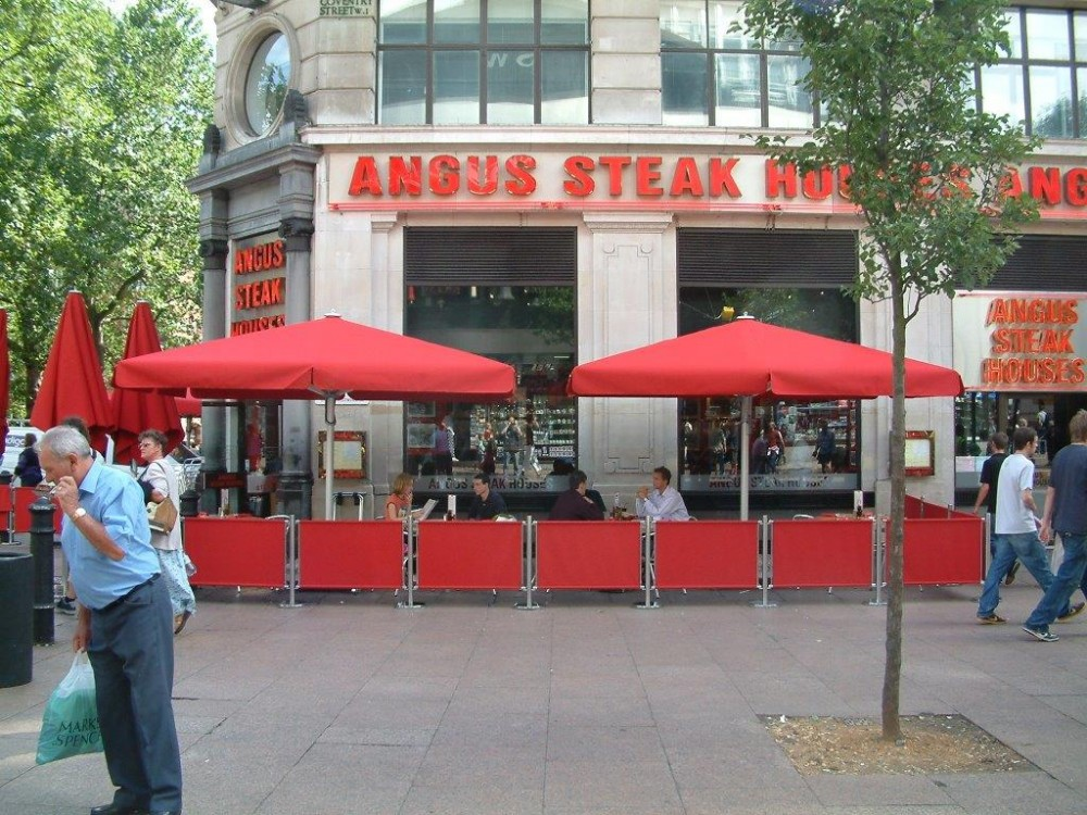 Angus Steak House Leicester Square Giant Parasols Screenings
