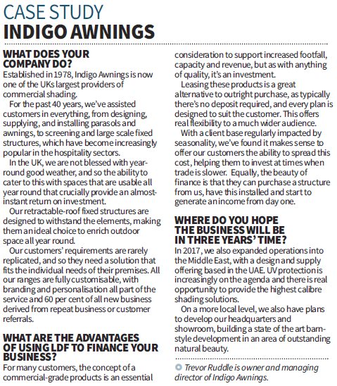 Indigo Awnings Feature in London's Financial City AM Newspaper