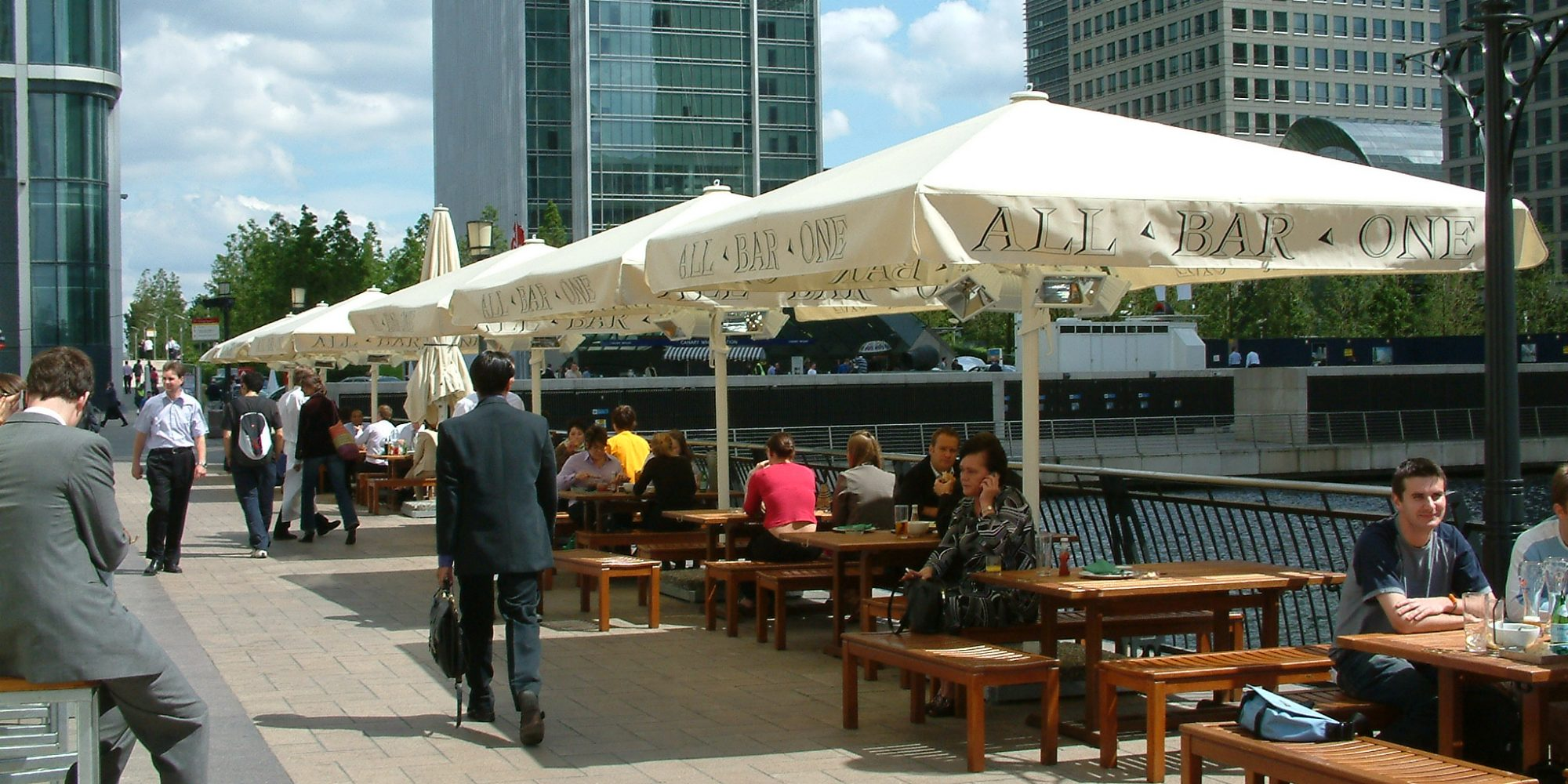 All Bar One Canary Wharf Giant Parasols