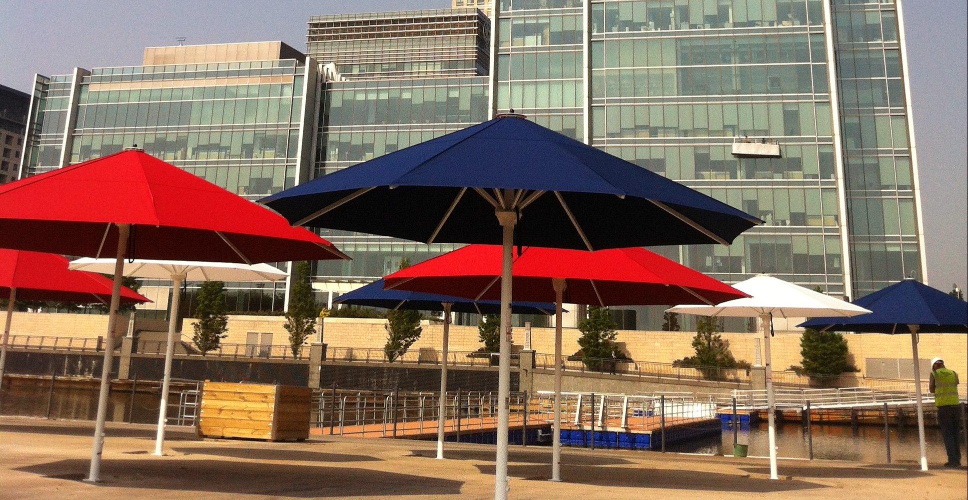 Giant Parasols Canary Wharf Olympics 2012
